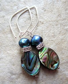 Abalone Shell and Pearl Earrings Freshwater by LeanneDesigns, $10.00 Shop Sale, Abalone Shell, Shells, Pearl Earrings, Trending Outfits, Unique Jewelry, Handmade Gifts, Accessories, Shopping