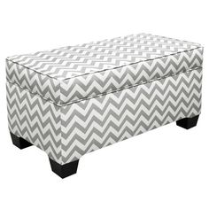 Skyline Zig Zag Grey and White Upholstered Storage Bench - Zig Zag fabric pattern may differ slightly from pictured benchAbout Skyline Furniture Manufacturing Inc.Skyline Furniture was founded in 1948 with the. Fabric Storage Ottoman, Upholstered Storage Bench, Bedroom Storage, Furniture Storage, Storage Benches, Furniture Decor, Toy Storage, White Furniture, Unique Furniture