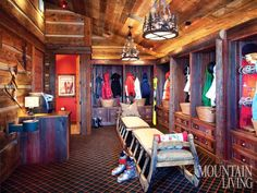 The Ultimate Ski Room - lots of room for individual lockers and a hot chocolate bar! Reid Smith Architects in Montana