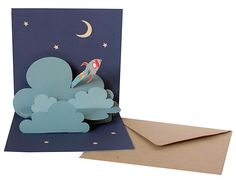 Pop-up cards / cloud / stars / moon / rocket ship / night / kiddos / cool / landscape / to the moon