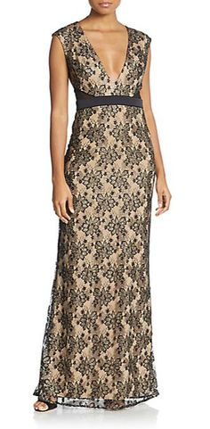 ABS | Cap Sleeve Lace Gown | SAKS OFF 5TH