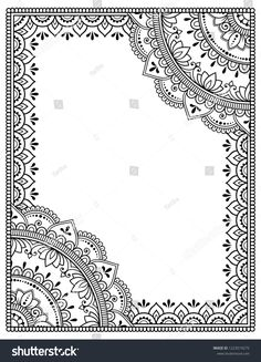 Stylized with henna tattoos decorative pattern for decorating covers for book, notebook, casket, magazine, postcard and folder. Mandala and border in mehndi style. Frame in the eastern tradition. Mandala Doodle, Doodle Zen, Mandala Art Lesson, Doodle Art Drawing, Mandala Artwork, Mandala Drawing, Art Drawings Sketches, Zentangle Drawings, Mandala Design