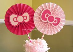 "2- 6"" Hello Kitty Rosettes Centerpieces -Paper Fans- Pinwheels - Hello Kitty Birthday Bow - Paper Rosettes - Candy Buffet Decorations on Etsy, $6.00:"