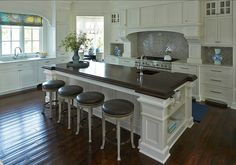 White kitchen with Dark hardwood floors