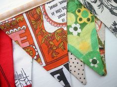 vintage tea towel and tablecloth banner