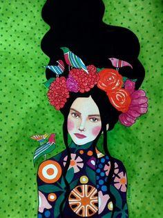 "green - woman with birds - ""best kept secret"" - watercolor on paper - illustration - Hülya Özdemir Art And Illustration, Collage Illustrations, Painting Inspiration, Art Inspo, Kunst Inspo, Arte Pop, Klimt, Portrait Art, Portraits"
