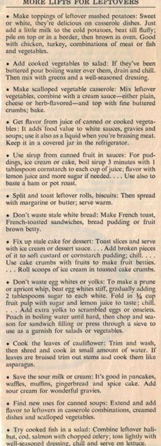MORE LIFTS for LEFTOVERS - news clippings ( recipe curious.com)