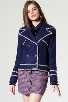 Fran Blue Jacket Discover the latest fashion trends online at storets.com #Wide Leg Pants #Wide Cuff Pullover #Tweed Blazer