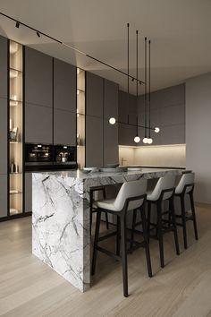 Modern Kitchen Interiors, Luxury Kitchen Design, Kitchen Room Design, Home Room Design, Kitchen Cabinet Design, Interior Design Kitchen, Modern Interior Design, House Design, Luxury Kitchens