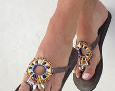 African Maasai Beaded Sandals-001 by TheMaasaiShop on Etsy