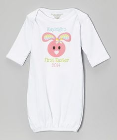 Another great find on #zulily! Pink Bunny 'First Easter 2014' Personalized Gown - Infant by Initial Request #zulilyfinds