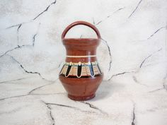 Vintage Clay Pot with Handle Ceramic Flower by GuestFromThePast