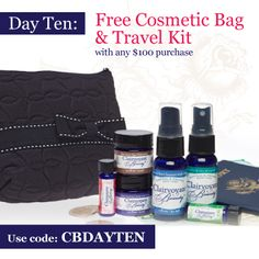 Day 10: Free Cosmetic Bag and Travel Kit with any $100 Purchase
