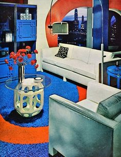 Surprisingly the mix of Egyptian blue, burnt orange, and white work really well together. | 16 Chic 1970s Interiors You Would Want To Live In