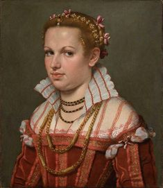 Giovanni Battista Moroni, Bust of Isotta Brembati, ca. Oil on canvas. 21 x 18 in. x 47 cm). Italian Renaissance, Renaissance Art, Renaissance Costume, Red Satin Dress, Renaissance Portraits, National Gallery, New York Museums, Male Torso, Italian Painters