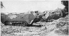 Early models of the St. Chamond heavy tank. Under-powered and fundamentally inadequate, it saw combat serviceregardlessearly in 1917 until the end of the war.