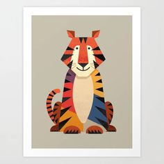 Tiger // Art Print, Wall Art, Poster // Wildlife of Asia series; Orang Utan, Tiger and Giant Panda // Nursery Decor, Nursery Art Prints, Nursery Animals, Asian Art Print, Asian Animal, Orang Utan Illustration, Orang Utan Art, Orang Utan Nursery, Asian Wildlife, Baby Shower, Baby Gifts, Kids Room, Retro Animal, Mid-century Animal, Animal Illustration, Kids Poster, Kids Art Print, Nursery Art Print, Childrens Room, Nature Art Print