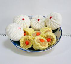 Crochet a Set of Dim Sum Amigurumi Crochet Food, Crochet Gifts, Crochet Baby, Diy Crochet, Crotchet, Dim Sum, Foundation Single Crochet, Little Potatoes, Pork Buns