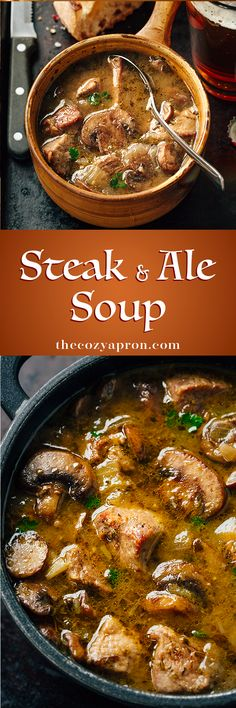 This one sounds fantastic. I'm thinking I'll definitely be trying this one during the coming winter. dinner for 2 people Steak and Ale Soup with Mushrooms Slow Cooker Recipes, Crockpot Recipes, Soup Recipes, Cooking Recipes, Recipies, Slow Cooking, Dinner Crockpot, Easy Recipes, Cooking Games
