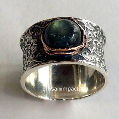 Sterling Silver Band, Sterling Silver Ring, Silver Filigree Band,  labradorite ring, rose gold nest ring - Our story R2059