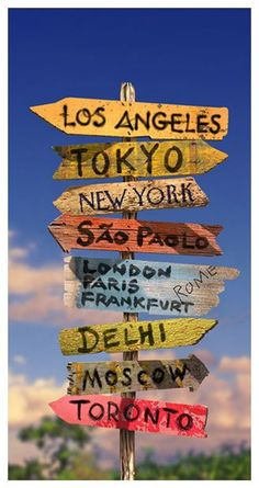 Signpole Mural-  A digitally enhanced colour photo of a city sign post – perfect for the armchair traveller.