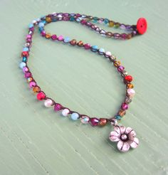Bloom colorful gemstone and crystal crocheted necklace, with gorgeous sterling silver drop very earthy, boho,natural, cottage