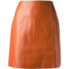 3.1 PHILLIP LIM pencil skirt ($968) ❤ liked on Polyvore featuring skirts, bottoms, saias, leather skirt, short pencil skirt, pleated leather skirt, orange skirt and orange pleated skirt