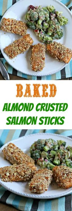 Baked Almond Crusted Salmon Sticks Chef Recipes, Fish Recipes, Seafood Recipes, Recipies, Cooking Recipes, Fitness Models, Good Food, Yummy Food, Tasty