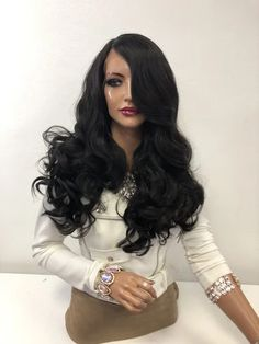 """Dark Brown Volume Curls Long Hair Multi Parting Lace Front Wig 18"""" Gra – Aeshaper® 