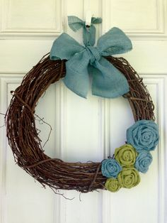 18 inch Grapevine Wreath Olive Green & by BlessingsAllMine on Etsy