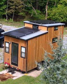 The Tiny Solar House is a 210-square-foot off-grid tiny house on wheels powered by six 280-watt photovoltaic panels.