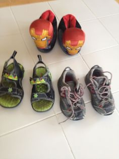 Boys 3 pair lot shoes sandals size 9 Iron man TMNT lights New balance sneakers #newbalanceironmanTMNT #Sandalsslipperssneakers