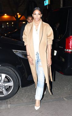 Ciara simplifies a tan coat with destroyed denim and white accents. // #Celebrity