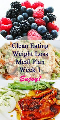 Click pin for week 1's #cleaneating #weightloss meal plan -- full of easy healthy meals for clean eating diet