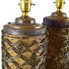 Munro and Kerr Pair of Lamp bases antique wallpaper rollers from Belgium Wooden Wallpaper, Wallpaper Roller, Antique Wallpaper, Wooden Lamp Base, Brass Lamp, Lamp Bases, Rollers, Designer Wallpaper, Solid Brass