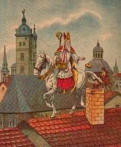 Sinterklas en Zwarte Piet rijden over de daken