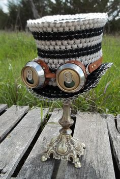 """Beer Goggles and Top Hat - Steampunk'd with Beer Cans/Tabs! - CRAFTSTER CRAFT CHALLENGES - I was wanting a """"tabistry"""" project to make to donate to a silent auction at a Steampunk event we attending this past weekend. Soda Tab Crafts, Can Tab Crafts, Tape Crafts, Pop Can Tabs, Soda Can Art, Soda Tabs, Steampunk Hat, Steampunk Crafts, Steampunk Fashion"""
