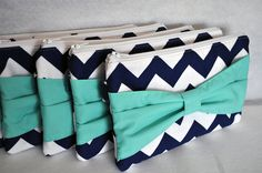 Bridesmaid Gift Set of 6 Chevron Bow Clutch Choose by ChickSprings, $106.00