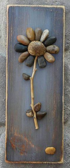 Pebble Art Flower/ Rock Art Flower on reclaimed wood, approx 11.5x4.5  (FREE SHIPPING) by CrawfordBunch on Etsy https://www.etsy.com/listing/281551696/pebble-art-flower-rock-art-flower-on