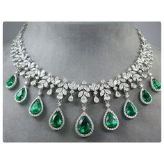 The Elegant and Prestigious Emerald Drop Diamond Necklace by #PrimaGems…