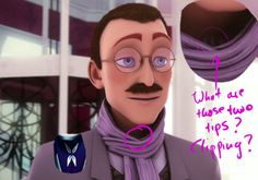 "Is Mr. Kubdel/Alix's Dad Hawkmoth? I still think it's Gabriel, but this is a pretty cool theory (though it was probably developed BEFORE ""Origins""). My question is what happens to his moustache if he was HawkMoth? Like is it crammed into that big mask? Cause that seems uncomfortable"