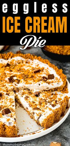 This Easy Eggless Candy Ice Cream Pie is the perfect summer treat! Its creamy vanilla filling packed with chopped chocolate candy bars and the crispy crust will become a family favorite dessert for sure. #recipe #icecream #nobake #pie #candy #chocolate #easy #quick #summer #Butterfinger #Crunch #BabyRuth #AD via @mommyhomecookin Healthy Pie Recipes, Eggless Recipes, Cream Pie Recipes, Candy Recipes, Sweet Recipes, Cheesecake Recipes, Homemade Desserts, Frozen Desserts, Fun Desserts