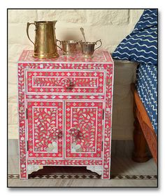 Pink Mother of Pearl #Inlay #Bedside #Chest http://www.irisfurnishing.com/Mother-of-Pearl-Inlay-Furniture-s/1514.htm