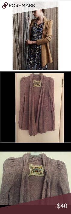Heathered PINK Tokyo Map ladies choice sweater This is in the color light pink. In great condition, slight pulling from laundering and VERY light wear. Nylon wool blend Anthropologie Sweaters Cardigans