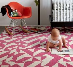 Learn to love in all directions by using our Pink Twisted Spokes carpet squares all across your home! The plush pink design is a favorite for any little girl's dream room.