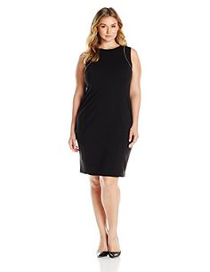 Calvin Klein Womens Plus Size Sheath W Zip AT Shoulder Black 22W *** Read more reviews of the product by visiting the link on the image. (This is an affiliate link and I receive a commission for the sales)