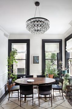 Stunning dining room with large windows