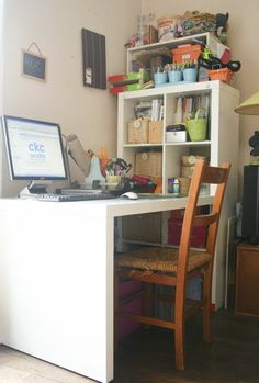 The Ikea Expedit Desk--Lola needs an art space! & Pottery Barn Bedford Project Table Set Antique White | Project ...