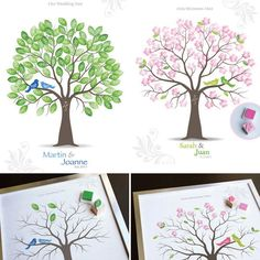 Stamped Guest Book Tree - great idea in case the thumbprints got messy! Guests then sign their names around their stamp