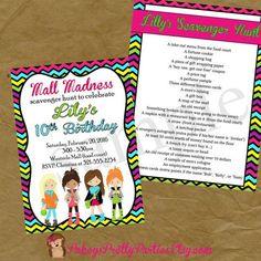 Mall Scavenger Hunt Birthday Party Invitation Invite Rainbow
